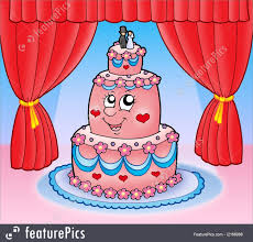 Celebration Cartoon Wedding Cake With Curtains Stock