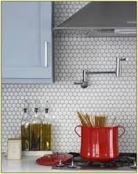White Penny Tile Backsplash
