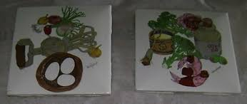 5 RARE Vintage Estate Find Wendy Wheeler Ceramic Tile Trivets Kitchen  Cooking | #404128198