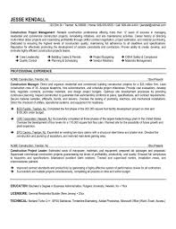 Construction Resume Examples Project Management Entry Level