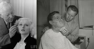 left max factor demonstrating the lastest look in eyebrows 1937 right ben nye on work 1939