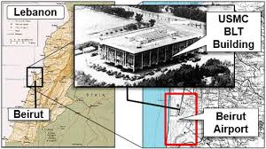 Image result for 1983, a suicide bomber drives a truck laden with explosives into the U.S. Marine Corps barracks in Bairut, Lebanon, newspoapers