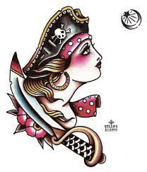 Pirate By Susana Alonso Old School Girl Tattoo Design Canvas Art