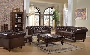 Brown sofa sets Traditional Futonland Elegant 5pc Dark Brown Boned Leather Button Tufted Living Room Sofa Set