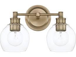 vanity lighting. capital lighting mid century aged brass twolight vanity light