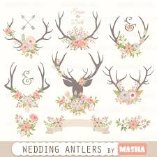 Antlers Clipart Wedding Antlers Clipart With Flower