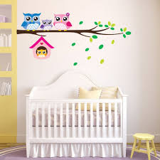 Image is loading Owl-Birds-Branch-Mural-Wall-Stickers-Decal-Removable-