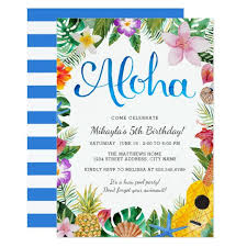 Birthday Party Invitation Watercolor Tropical Luau Birthday Party Invite Zazzle Com