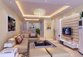 Decorations. Cool Living Room Square Pop Ceiling With Recessed Cove  Lighting And Crystal Pendant Lamp
