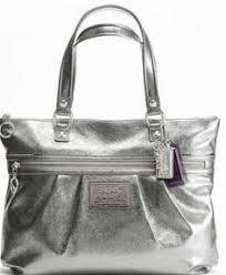 Coach Poppy Metallic Silver Handbag Purse Tote,DESIGNER COACH BAGS  WHOLESALE,cheap coach bags