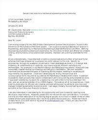 Engineering Cover Letter Internship Sample Cover Letter For