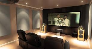 marvelous modern small home theater design black leather sofa theater room standing speaker grey wall art projector screen