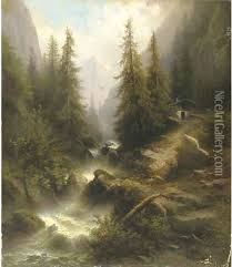waterfall cascading amongst pine trees in the alps oil painting albert rieger