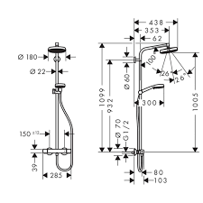 <b>Душевая стойка Hansgrohe Crometta</b>, термостат, верхний душ в ...
