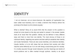self identity essay self identity essay examples kibin