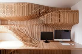 plywood decor modern small office design ideas with unique desk office has two monitors and white wall paint