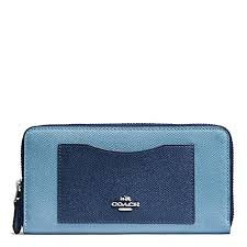 Coach Accordion Zip Wallet In Geometric Colorblock Crossgrain Leather Blue  Multi