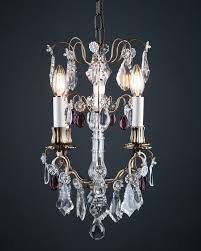 french cage crystal chandelier with purple crystal droppers antique lighting
