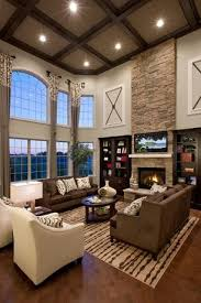 Contemporary Living Room with Box ceiling, Hardwood floors, High ceiling,  Arched window,