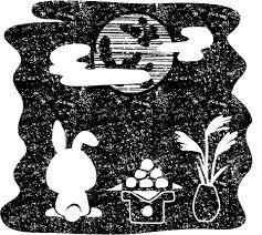 お月見十五夜うさぎ白黒イラスト
