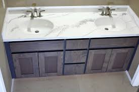how to refinish bathroom vanity top