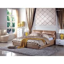 P127-1, China Comfort Cushion Leather Bed Frame In Golden Color ...