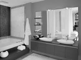 large mirror plus floating shelves and wooden vanity having double white sink