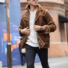 european style vintage thick warm winter long leather jacket male fur coat men suede jacket men