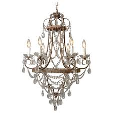 y decor palais 6 light antique bronze chandelier with crystal beads