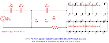 230 v 50hz ac (or 110v 60hz) main operated led powerful night lamp led ac circuit diagrams at Led Circuit Diagrams