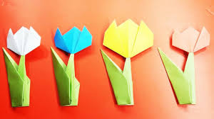 Easy Paper Origami Flower Tulip Paper Flowers How To Make A Tulip Origami Flowers