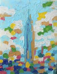 empire state building iii new york new york impressionism oil painting by longtime resident tom lohre