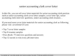 Accounting Clerk Cover Letter Senior Accounting Clerk Cover Letter
