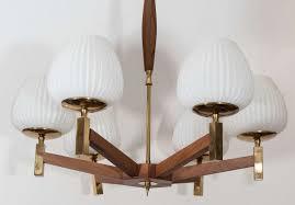 scandinavian modern scandinavian teak wood chandelier with tulip milk glass globes for
