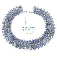 crystal beads clavicle necklace diy kits blue light
