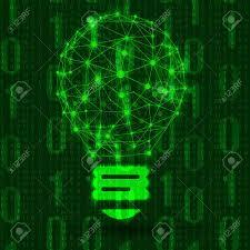 Binary Light Bulbs Glowing Illustration Stylized Wire Frame Light Bulb On Dark
