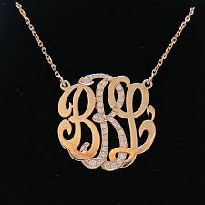 mini 14k gold monogram necklace with diamond middle initial