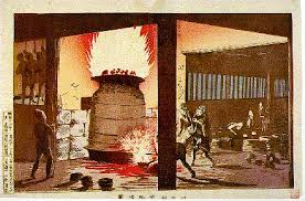 global h hw during the meiji restoration kiyochika a view of a melting pot at kawaguchi 1880