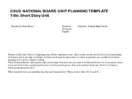 Short Story Plan Template Short Story Unit Created By Dena Reeve Csus National Board Unit