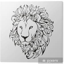 Obraz Na Plexiskle Lví Hlava Tetování Vektor