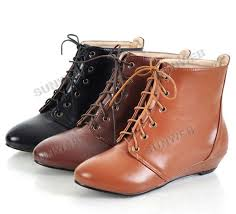 new lace up round toe women s leather ankle flats boots shoes girls 3 colors free