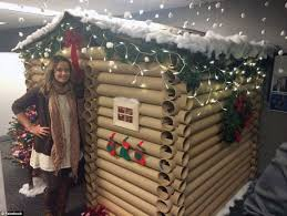 christmas office decorating ideas. snowcovered roof and an alpine garland with flashing fairy lights a minnesota office christmas decorating ideas n