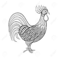 Rooster Chicken Domestic Farmer Bird For Coloring Pages Zentangle
