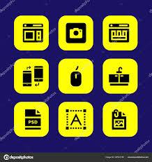 Web Design Icon Psd Web Design Vector Icon Set Photo Camera Tap Text Editor