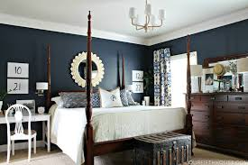 Navy blue bedroom furniture Navy Painted Master Bedroom Progress Feather My Nest Navy Blue Dark Furniture Walls Modern Decoration 3dcubeinfo Bedroom Dark Blue Master Alternative Earth