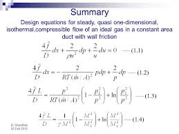 summary design equations for steady quasi one dimensional isothermal compressible flow of