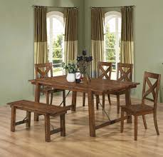 Kitchen Table With Bench Set Coaster Lawson 6 Piece Rustic Pecan Dining Table Chair And Bench Set
