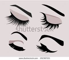 set of four eyelashes and eyebrows silhouettes closed eyes vector icons