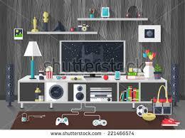 creative living furniture. Flat Modern Design Vector Illustration Concept Of Creative Living Room Workspace, Workplace With TV Set Furniture