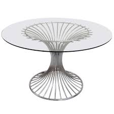mid th century chrome and glass top round dining table at stdibs